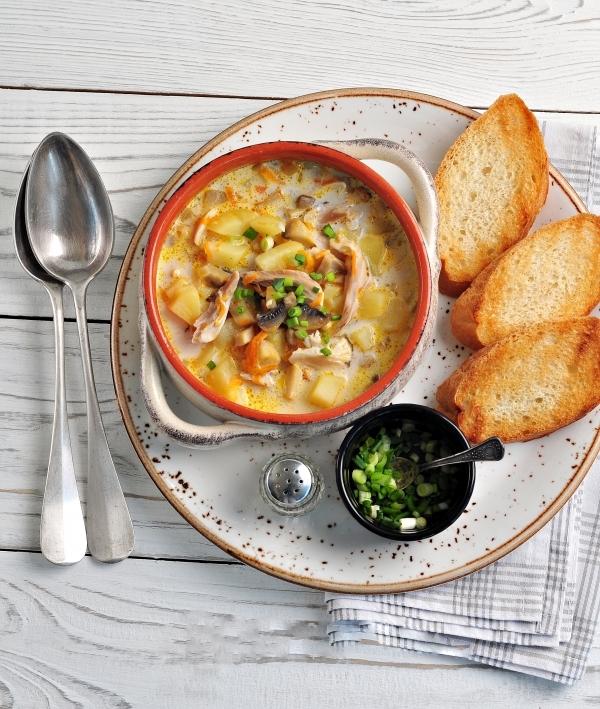 Суп сырный с курицей и грибами